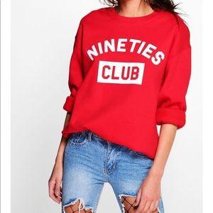 BOOHOO Red Nineties Club Slogan Sweatshirt